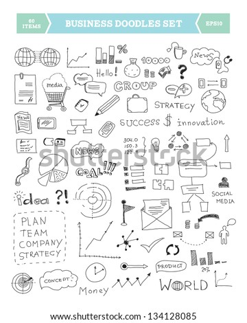 Hand drawn vector illustration of business doodles elements. Isolated on white background