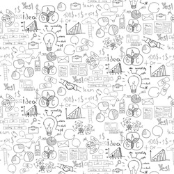 Hand drawn vector illustration of business strategy, brainstorming and website development doodles elements. Isolated on white background.