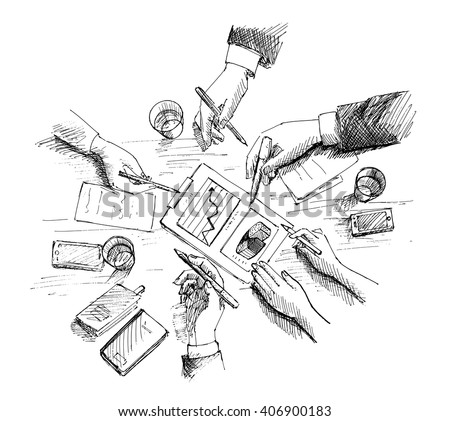 Hand Drawn vector illustration of Corporate meeting, planning and teamwork. Top view concept with businessman hands and various office objects.