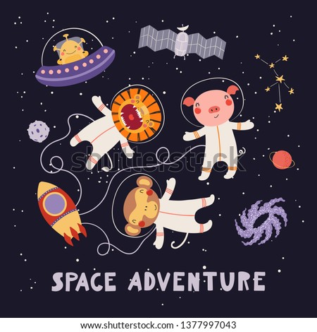 Hand drawn vector illustration of cute animal astronauts, alien in space, with lettering quote Space adventure. Isolated objects on dark. Scandinavian style flat design. Concept for children print.