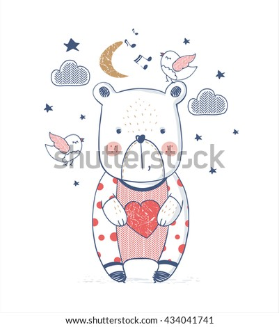 Hand drawn vector illustration of cute Teddy bear in the night