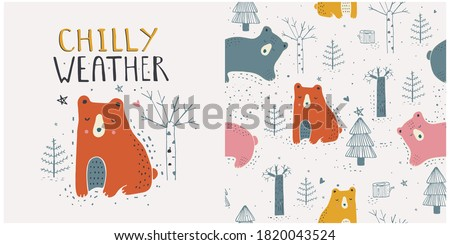 Hand drawn vector illustration of cute white bear with winter forest seamless pattern. Hand drawn vector illustration