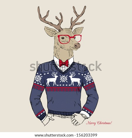 Hand Drawn Vector Illustration of Deer Hipster in Jacquard Sweater, Merry Christmas Card