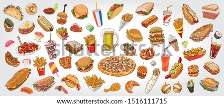 Hand drawn vector illustration of delicious fast food items and beverages. Burger, sandwich, pizza, fries, taco, hot dog, fried chicken, sushi, soda, beer.