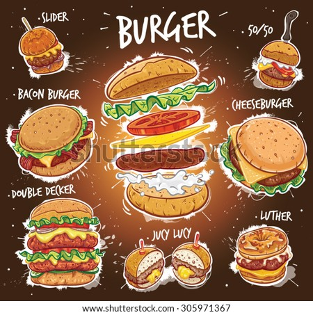 Hand drawn vector illustration of eight popular Burger varieties, including Hamburger, Cheeseburger, Bacon Burger, Double Decker Burger, Slider Burger, Luther Burger, 50/50 Burger, Juicy Lucy Burger.