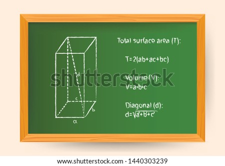 Hand drawn vector illustration of geometrical shape parallelepiped in white chalk on green school board with math formulas of total surface area, volume and space diagonal
