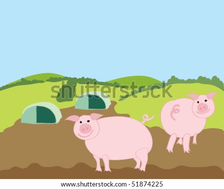 hand drawn vector illustration of happy free range pigs with their shelters with green hills and blue sky background