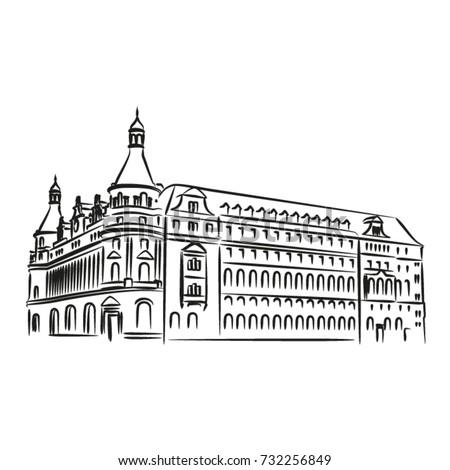 Hand drawn vector illustration of Haydar Pasa Terminus