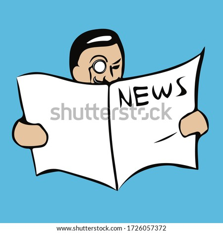 Hand drawn vector illustration of man with a monocle reading a newspaper