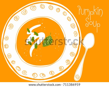 Hand drawn vector illustration of plate of pumpkin soup with spoon on orange background