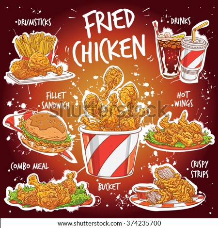Hand drawn vector illustration of popular Fried Chicken varieties. Hot Wings, Drumsticks, Combo Meal, Crispy Strips, Bucket, Fillet Sandwich with drinks, dips, french fries and lettuce.