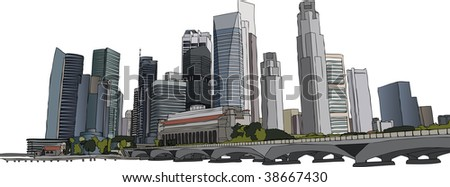 Hand drawn vector illustration of Singapore skyscrapers