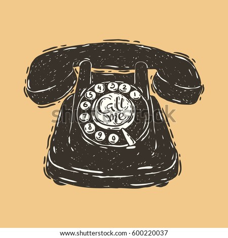 Hand drawn vector illustration of the retro telephone with hand lettering inscription Call me