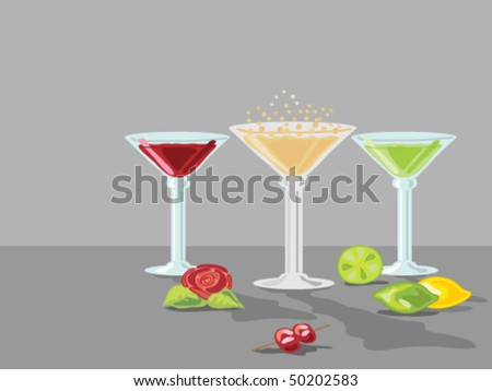 hand drawn vector illustration of three cocktails in glasses with lemons limes and a small rose on a two tone gray background