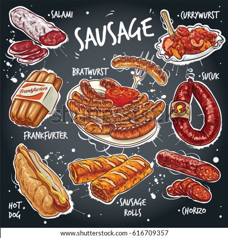 Hand drawn vector illustration of various sausage products.