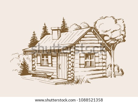 Hand drawn vector illustration of wooden house