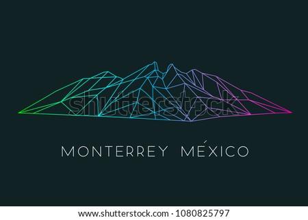 Hand drawn vector illustration or drawing of: Cerro de la Silla Mountain in Monterrey Mexico Foto stock ©