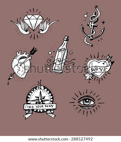 Hand drawn vector illustration or drawing of some old school tattoo designs