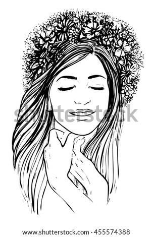 Hand Drawn Vector Illustration Pretty Girl With Wreath Of Flowers