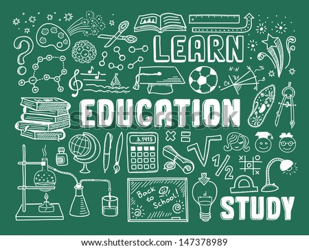 Hand drawn vector illustration set of education and learning doodles with school objects and items. Isolated on green background