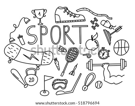 Hand drawn vector illustration set of fitness and sport doodles sign .