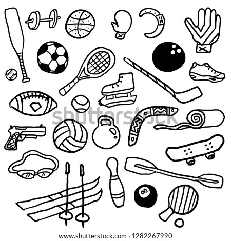 Hand drawn vector illustration set of fitness and sport sign and symbol doodles elements