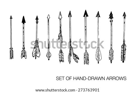 Hunting Arrows Drawing Hand-drawn Vector Illustration