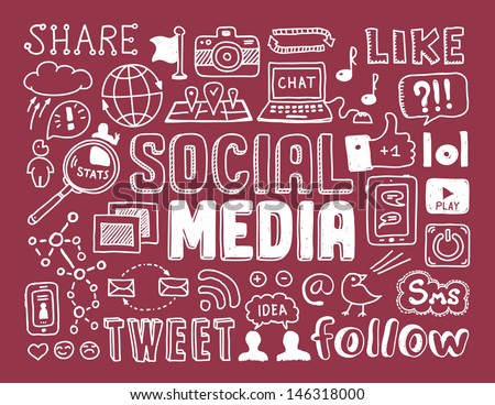 Hand drawn vector illustration set of social media sign and symbol doodles elements. Isolated on red background