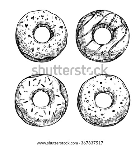 Hand drawn vector illustration - Set of tasty donuts. Sketch. Sweet desserts
