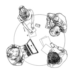 Hand drawn vector illustration. Top view: Business conversation at the table with businessmens. Concept clipart in sketch style. Perfect for presentations, magazins, prints, posters etc