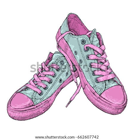 Hand drawn vector illustration with a pair of sneakers. Run Concept.