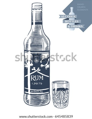 Hand drawn vector illustration with alcohol bottle of rum and drink in glass. Black elements isolated on white background.