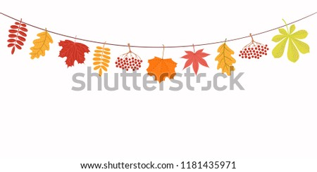 Hand drawn vector illustration with autumn leaves hanging on a string. Isolated objects on white background. Flat style design. Concept for seasonal banner, poster, card. #1181435971