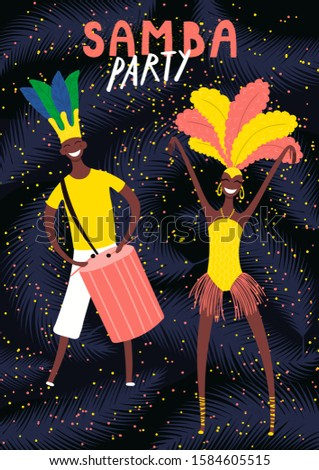 Hand drawn vector illustration with dancing people in bright costumes, tropical leaves, text Samba Party. Flat style design. Concept for Rio de Janeiro, Brazilian carnival poster, flyer, banner.