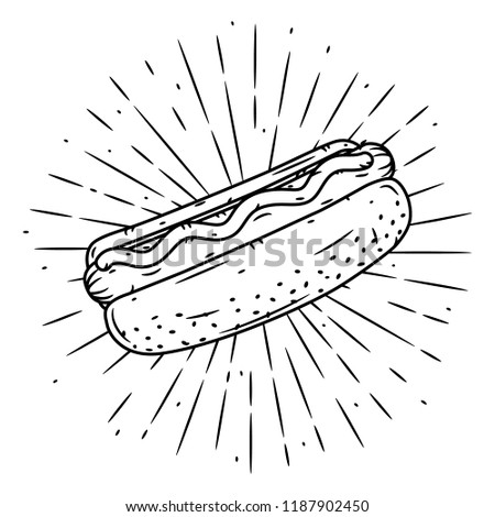 Hand drawn vector illustration with hot dog and divergent rays. Used for poster, banner, web, t-shirt print, bag print, badges, flyer, logo design and more.  Foto stock ©