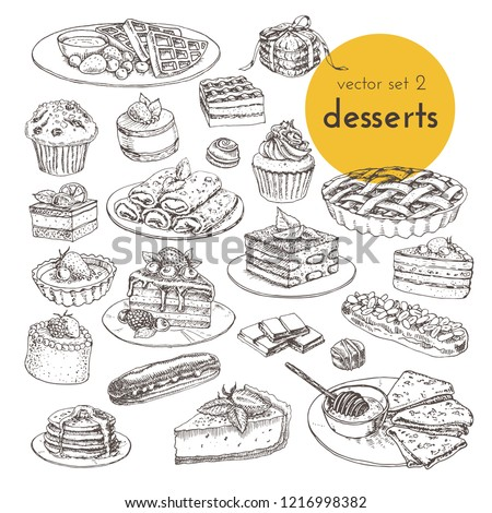 hand drawn vector illustrations cake and desserts. sketch graphic collection of illustration with sweets, cakes and desserts. for cafe and restoran menu decoration