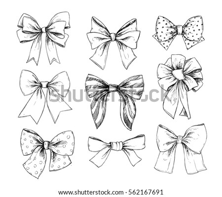 Hand drawn vector illustrations. Different types of bows. Perfect for invitations, greeting cards, posters, prints. Illustration in sketch style.