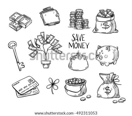 Hand drawn vector illustrations - Save money. Doodle design elements. Finance, payments, banks, cash, Four-leaf clover