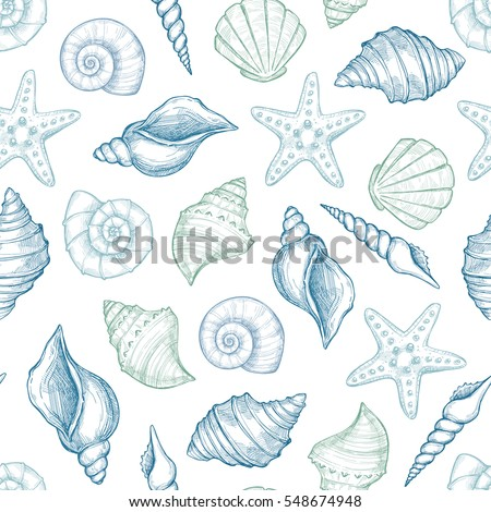 Hand drawn vector illustrations - seamless pattern of seashells.  Marine background. Perfect for invitations, greeting cards, posters, prints, banners, flyers etc