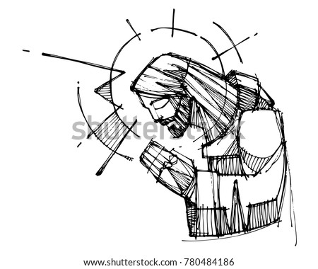 Hand drawn vector ink illustration or drawing of Jesus Christ praying