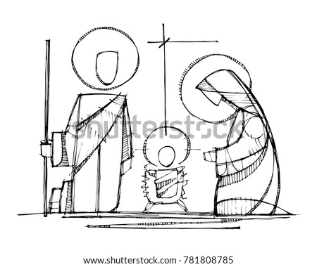 Hand drawn vector ink illustration or drawing of Jesus, Virgin Mary and Saint Joseph at Nativity