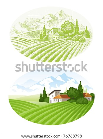 hand drawn vector landscape