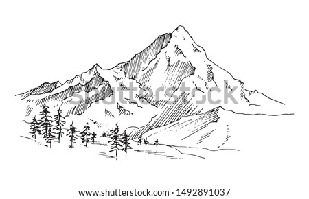 Hand drawn vector landscape with mountains, trees  in the mountains. Perfect for banner, poster and sticker design. Foto stock ©