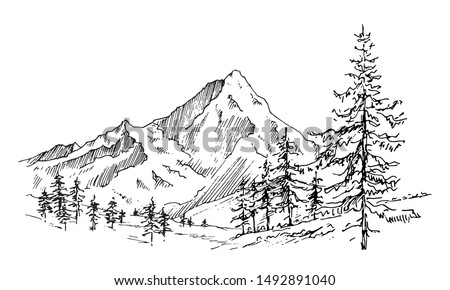 Hand drawn vector landscape with mountains, trees in the mountains. Perfect for banner, poster and sticker design.