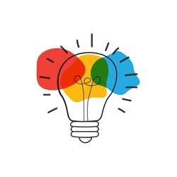 Hand drawn Vector light bulb icon with concept of idea. brainstorm and teamwork. Great idea eureka icon concept. Doodle hand drawn sign. Stock Vector illustration
