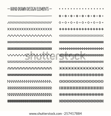 Hand drawn vector line border set and scribble design element. Geometric vintage fashion pattern. Illustration. Trendy doodle style brushes.