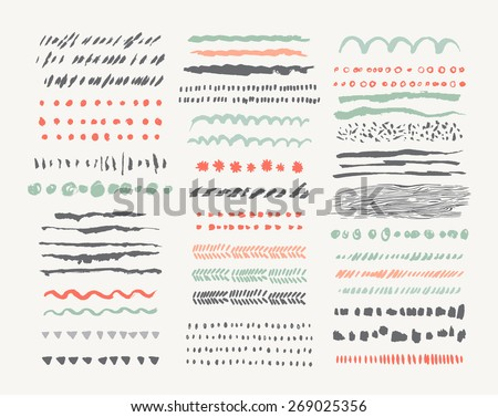 hand drawn vector line borders