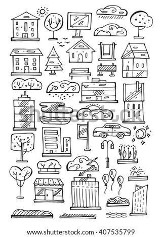 Hand drawn  vector line landscape icons set.Doodle  style.