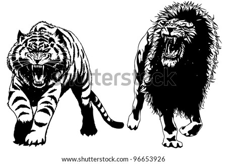 hand drawn vector lion and