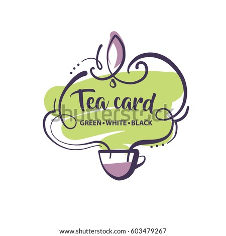 Hand-drawn vector logo isolated on light background for tea card in menu cafe, bar, restaurant.